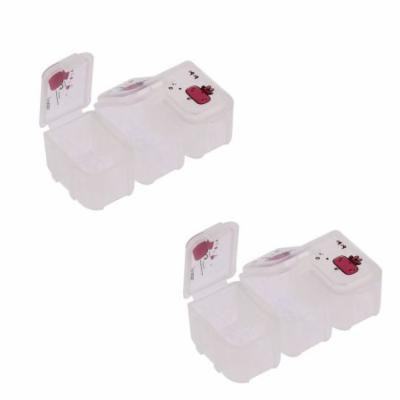 Portable Plastic 3 Compartments Pill Box Case Storage Red White 2pcs