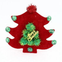 Lady Woman Cloth Tree Decor Christmas Party Alligator Hair Clip Barrette Red