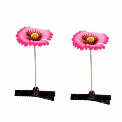Floral Antenna Hairpin Artificial Fuchsia Flower Hair Clips 2 Pcs