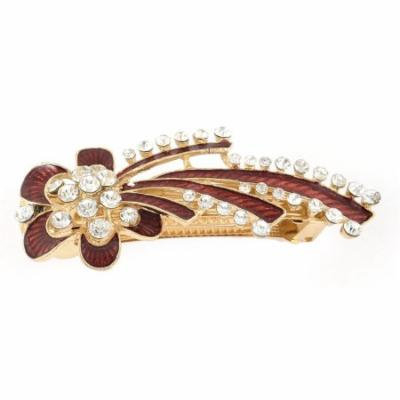 Women Plastic Crystal Inlaid Floral Design French Hair Pin Clip Barrette Red
