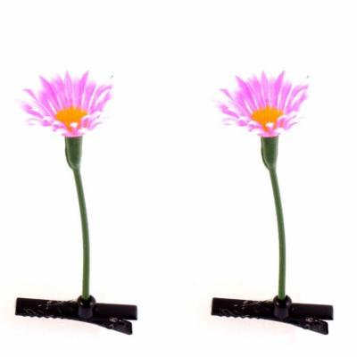 Floral Antenna Hairpin Artificial Flower Pink Daisy Hair Clips 2 Pcs