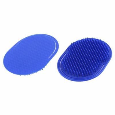 Oval Shape Hair Cleaning Scalp Massage Comb Shampoo Brush Dark Blue 2Pcs