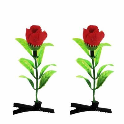 Lady Woman Flower Detail Party Alligator Hair Clip Barrette Red Green Pair