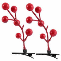 Lady Woman Plastic Fruit Detail Party Alligator Hair Clip Barrette Red Pair
