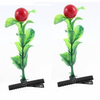 Lady Plastic Fruit Detail Party Alligator Hair Clip Barrette Red Green Pair