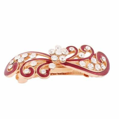 Women Rhinestones Inlaid Red Floral Accent French Hair Barrette Clip Gold Tone