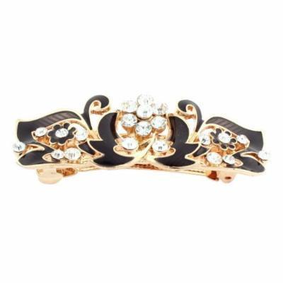 Lady Rhinestone Inlaid Flower Accent French Hair Barrette Clip Gold Tone Black