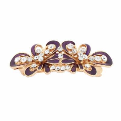 Lady Rhinestone Inlaid Flower Design French Barrette Hair Clip Gold Tone Purple
