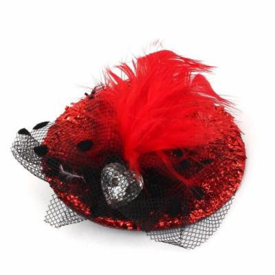 Girls Feather Lace Decor Hat Shape Alligator Hair Clip Barrette Black Red