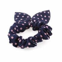 Dark Blue Hair Tie Ponytail Holder Pink Dot Rabbit Ear Decor for Women