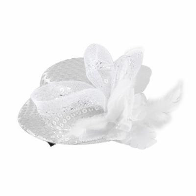 Silver Tone Mini Top Hat Flower Feather Decor Hair Clip for Lady