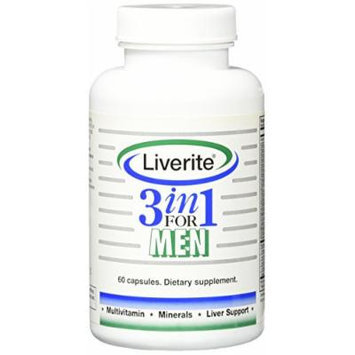 Liverite 3 in 1 Multivitamin, Liver Aid, Liver Support and Liver Cleanse Capsules for Men, 60 Count