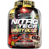 MuscleTech Nitro Tech 100% Whey Gold Muscle Building Powder, Cookies and Cream, 6 Pound