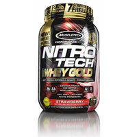 MuscleTech Nitro Tech 100% Whey Gold Muscle Building Powder, Strawberry, 2.5 Pound