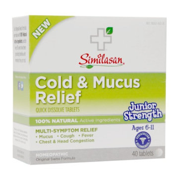Similasan Junior Strength Cold & Mucus Relief Quick Dissolve Tablets, 40 ea