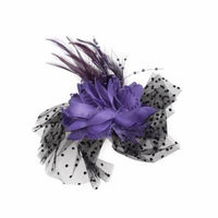 Woman Feather Detail Mini Beads Accent Flower Hair Clip Brooch Purple