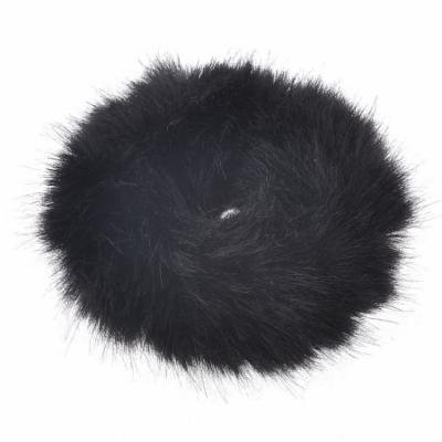 Black Hairdress Faux Fur Elastic Band Hair Tie Ponytail Holder for Woman