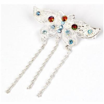 Lady Plastic Beads Decor Butterfly Shape Hair Barrette Clip Hairpin Silver Tone