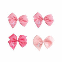 Greatlookz Breast Cancer Awareness Hair Bow, Set of 4