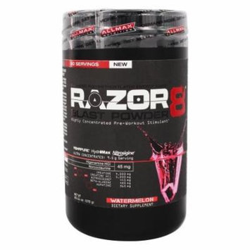 AllMax Nutrition - Razor8 Blast Powder Highly Concentrated Pre-Workout Stimulant Watermelon - 20.11 oz.
