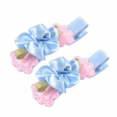 Child Baby Blue Pink Florals Butterfly Knot Alligator Hairclips Barrette Pair