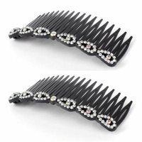 Women Plastic Hairstyle Inlaid 18 Teeth Banana Comb Hair Clips Silver Tone 2pcs