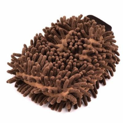 Microfibre Car Van Wash Shampoo Cleaning Mitt Glove Polishing Cloth Duster Brown