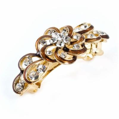 Woman Party Brown Flower Plastic Rhinestone Accent Hair Clip Barrette Hairpin