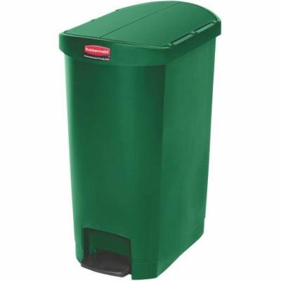 Rubbermaid Commercial End Step Style Slim Jim Resin 13 gal. Step-On Container, Green