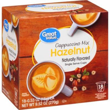 Great Value Hazelnut Cappuccino Mix Naturally Flavored Single Serve Cups, 0.53 oz, 18 count