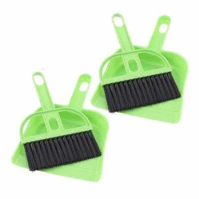 Computer Car Window Fans Cleaner Cleaning Tool Brush Dustpan Green 2 Sets