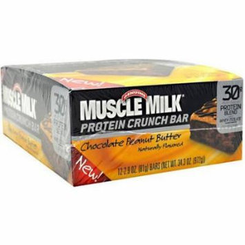 Muscle Milk Chocolate Peanut Butter Protein Crunch Bars, 2.9 oz, 12 count