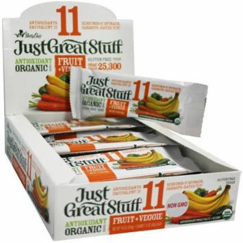 Betty Lou's Just Great Stuff Organic Fruit + Veggie Bars, 1.5 oz, 12 count