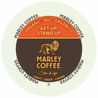 Marley Coffee Get Up Stand Up, Light, Organic, RealCup Portion Pack For Keurig Brewers, 192 Count