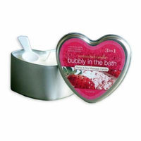 Earthly Body 3 In 1 Massage Heart Candle - Bubbly In The Bath, 6.0 oz.