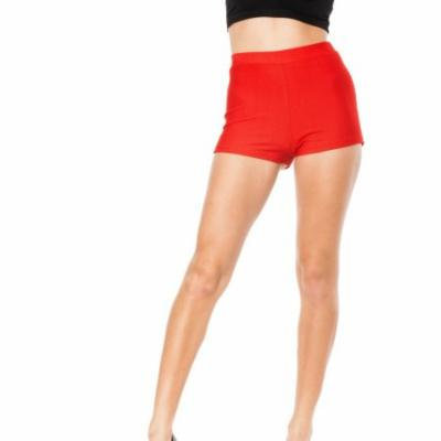 Red Junior Stretchy High Waisted Shorts (One Size Fits Medium/Large M/L)