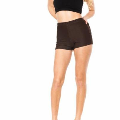 Brown Junior Stretchy High Waisted Shorts (One Size Fits Medium/Large M/L)
