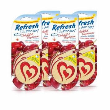 4-Pack Refresh Your Car Delightful Daydream Air Freshener Very Cherry