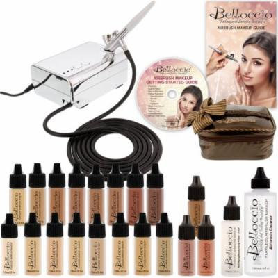16 Foundation Shades Belloccio Professional AIRBRUSH COSMETIC MAKEUP SYSTEM Kit