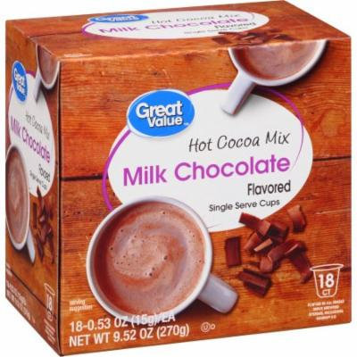 Great Value Milk Chocolate Hot Cocoa Mix Flavored Single Serve Cups, 0.53 oz, 18 count