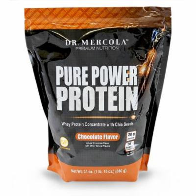 Dr. Mercola Pure Power Protein Chocolate - Whey Protein Concentrate With Chia Seeds - Naturally Flavored - Dietary Supplement - 31oz (1 lb. 15 oz) (880g)
