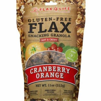 Flax4Life Gluten Free Flax Cranberry Orange Snacking Granola, 11 oz, (Pack of 6)