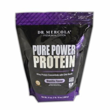 Dr. Mercola Pure Power Protein Vanilla - Whey Protein Concentrate With Chia Seeds - Naturally Flavored - Dietary Supplement - 31oz (1 lb. 15 oz) (880g)