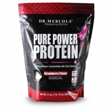 Dr. Mercola Pure Power Protein Strawberry - Whey Protein Concentrate With Chia Seeds - Naturally Flavored - Dietary Supplement - 1 lb. 15 oz. (880g)