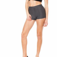 Charcoal Junior Stretchy High Waisted Shorts (One Size Fits Medium/Large M/L)