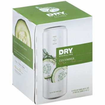 Dry Sparkling Cucumber Soft Drink, 12 fl oz, 4 pack, (Pack of 6)