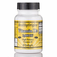 Vitamin D3 2000 IU (Lanolin) - 30 Softgels by Healthy Origins