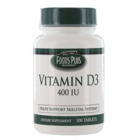 Vitamin D-400 Iu Tablets By Food Plus, Provides D3 - 100 Ea