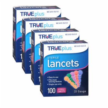 TRUEplus Sterile Lancets 33 Gauge (100-ct) pack of 4