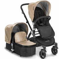 Babyroues 6624 Letour Lux II Leatherette Canopy & Footcover - Black Frame, Tan